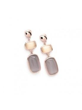 Pendientes largos plata rosa con piedras