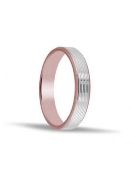 Alianza oro 18 kt combinada en rosa y blanco