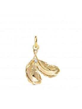 Colgante de oro dos plumas